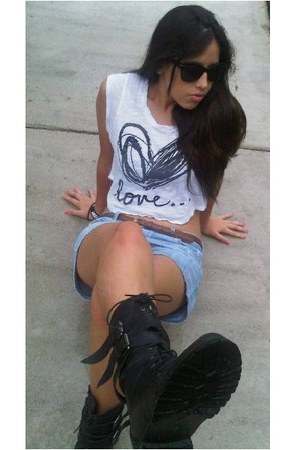 black army boots boots - white Forever 21 shirt - light blue shorts