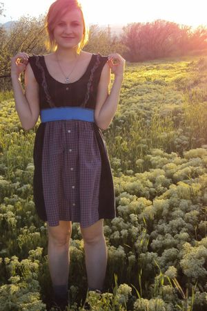 blue Urban Outfitters dress - gray Target boots - gray bonjour belle necklace -