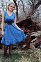 blue H&M dress - black Wet Seal belt - black Nordstrom tights - black Blossom Co