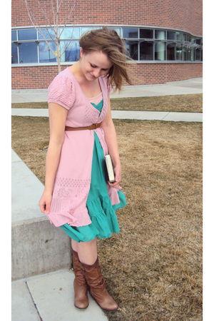 green Lux dress - pink Susina dress - brown Steve Madden boots - brown Charlotte
