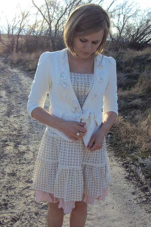 white LEI dress - white Forever 21 blazer - pink vintage hem dress - gray BKE bo