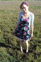 purple Frenchi dress - pink vintage hem skirt - gray hip cardigan - black Aldo s