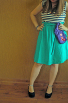 blue Melissa shoes - red necklace - purple accessories