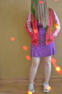 Purple-malwee-dress-red-adidas-jacket-beige-converse-shoes