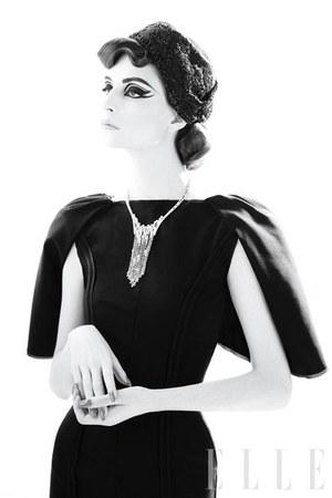 wool bat-sleeve Fendi dress - Heather Huey hat - Van Cleef & Arpels necklace