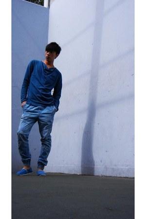 blue jeans - light blue shoes - teal asos top