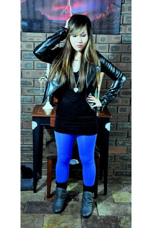 black JayJays jacket - black korea dress - purple uk leggings - gray K-mart boot