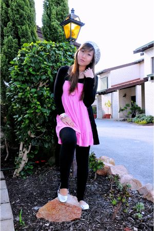 silver hat - pink Kamiseta dress - black Roads cardigan - black Target leggings