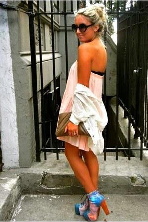 litas Jeffery Campbell heels - thrifted dress - clutc thrifted bag