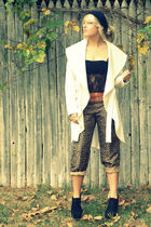 black Forever21 shoes - white D Studio coat - brown Allison Taylor pants