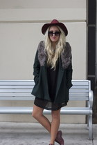 Nasty Gal coat - H&M dress - H&M hat - oxfords Frye flats