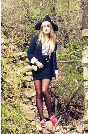 red Keds shoes - black Forever21 blazer - black Forever21 skirt