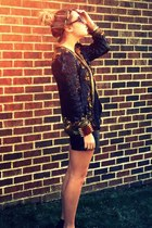 black sequin vintage blazer - black knit H&M shirt - black leather Forever21 sho
