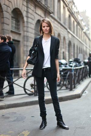 black blazer - black boots - black jeans - black purse - white t-shirt