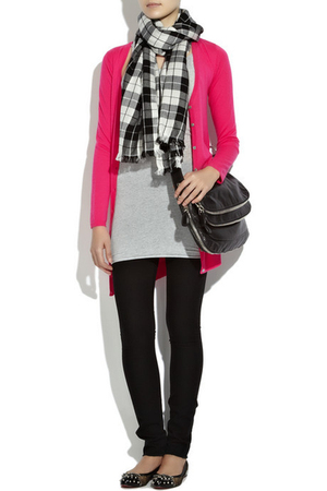 pink Crumpet cardigan - gray Bassike top - black J Brand leggings - donna karan