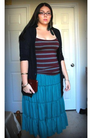 crimson striped Forever 21 top - brick red faux croco Forever21 wallet