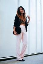 black H&M blazer - black faux fur ami clubwear purse - light pink Zara pants