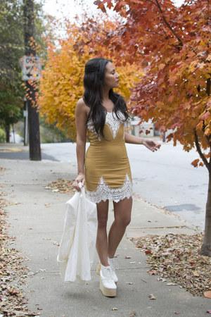 white Zara blazer - mustard For Love and Lemons dress
