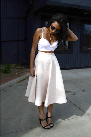 BCBGeneration necklace - zeroUV sunglasses - midi H&M skirt