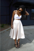 midi H&M skirt - zeroUV sunglasses - leather mule Zara heels