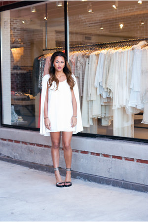 white cape Nasty Gal dress - black tilda Jeffrey Campbell pumps