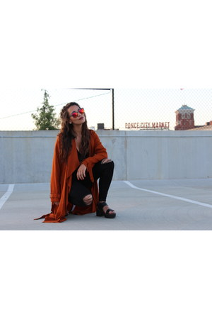 black Topshop jeans - burnt orange Zara coat - red Quay Australis sunglasses