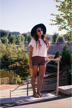 Nasty Gal sandals - wool H&M hat - embroidered Forever 21 shorts