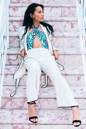 satin Zara blazer - satin Zara pants - mara hoffman swimwear