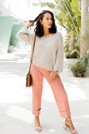 pink suede White House Black Market pants