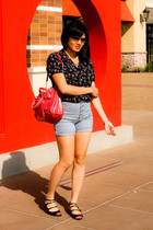Vintage Dorothy Perkins from mum blouse - f21 shorts - For Lovely People UO shoe