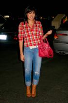 Vtg blouse - JBrand jeans - f21 belt - BCBGgeneration boots - Vtg bracelet