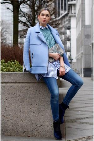 light blue neoprene coat - navy velvet Dr Martens shoes