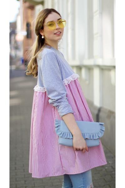 heather gray bow asos clogs - bubble gum striped asos dress