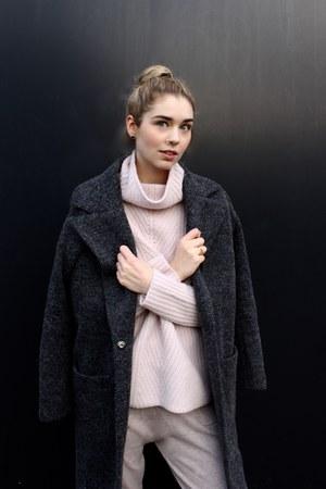 wool Esprit coat - knitted Esprit pants - knit Esprit jumper - nike sneakers