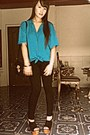 Black-black-h-m-leggings-black-bag-turquoise-blue-american-apparel-blouse