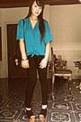 Black-black-h-m-leggings-black-bag-turquoise-blue-american-apparel-blouse