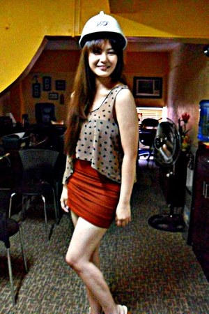 tawny bandage skirt Forever 21 skirt - tan Topshop top