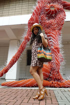 H&M dress - Renegade Folk shoes - trifted bag - Salcedo Market hat