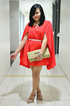 Girlshoppe necklace - cape Dear Kate dress - H&M purse - white Dear Kate belt