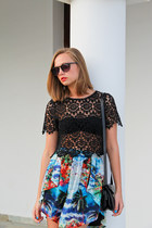 black Miss Selfridge top - blue Zara skirt