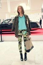 sky blue Hand Made top - chartreuse Zara pants