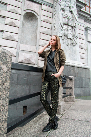 green H&M top - olive green H&M jacket