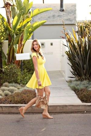 yellow ted baker dress - tan YSL bag - beige Jcrew heels