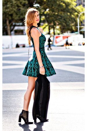 green fit and flare Parker dress