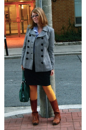 ben sherman coat - Loft blouse - Gap tights - Stetson skirt - Frye boots - coach