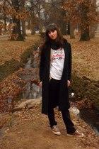 black Old Navy coat - brown vintage cardigan - white vintage t-shirt - black Rue