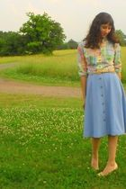 blue Sears dress - beige belt - beige gianni bini shoes