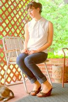 white shirt - white earrings - blue Mossimo jeans - blue Cole Haan shoes