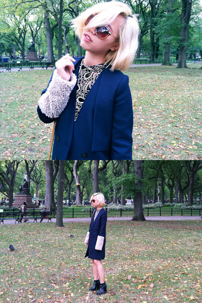 navy fur sleeves To Be Adorned coat - black Jeffrey Campbell boots