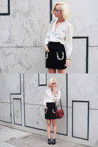 ivory vintage blouse - black gem skirt Pixie Market shirt